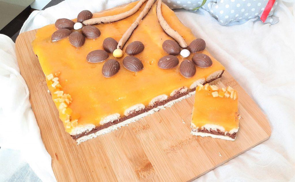 Mazurek czekoladowo-brzoskwiniowy
